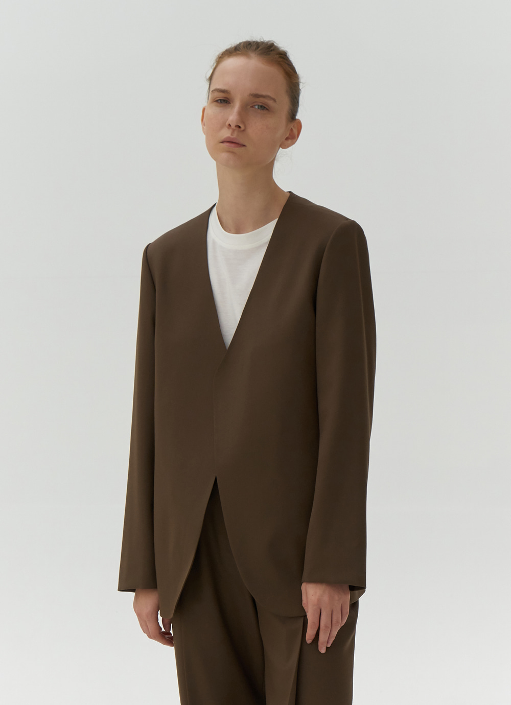 Exclusive / Collarless Jacket [Brown]