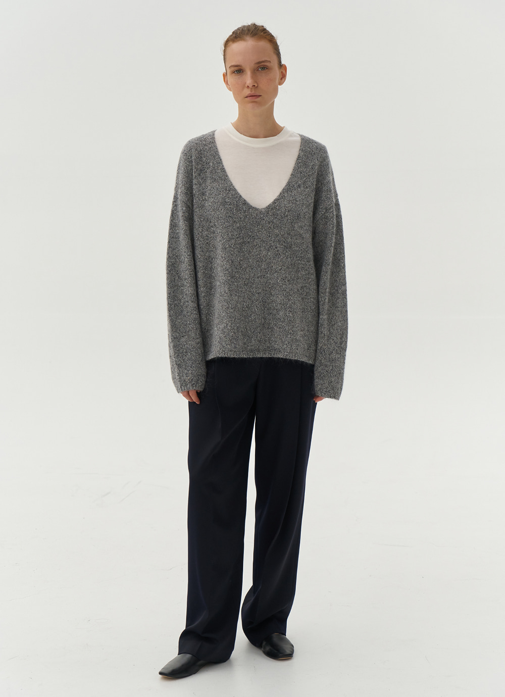 Deep V neck Knit [Melange Grey]