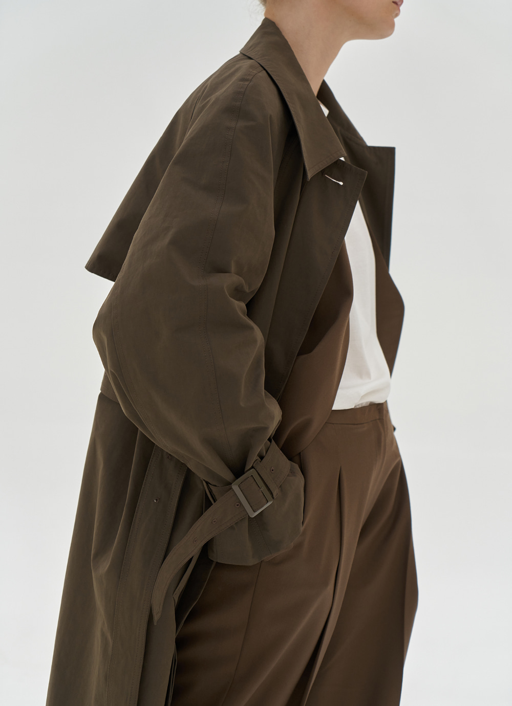 Single Trench Coat [Brown]