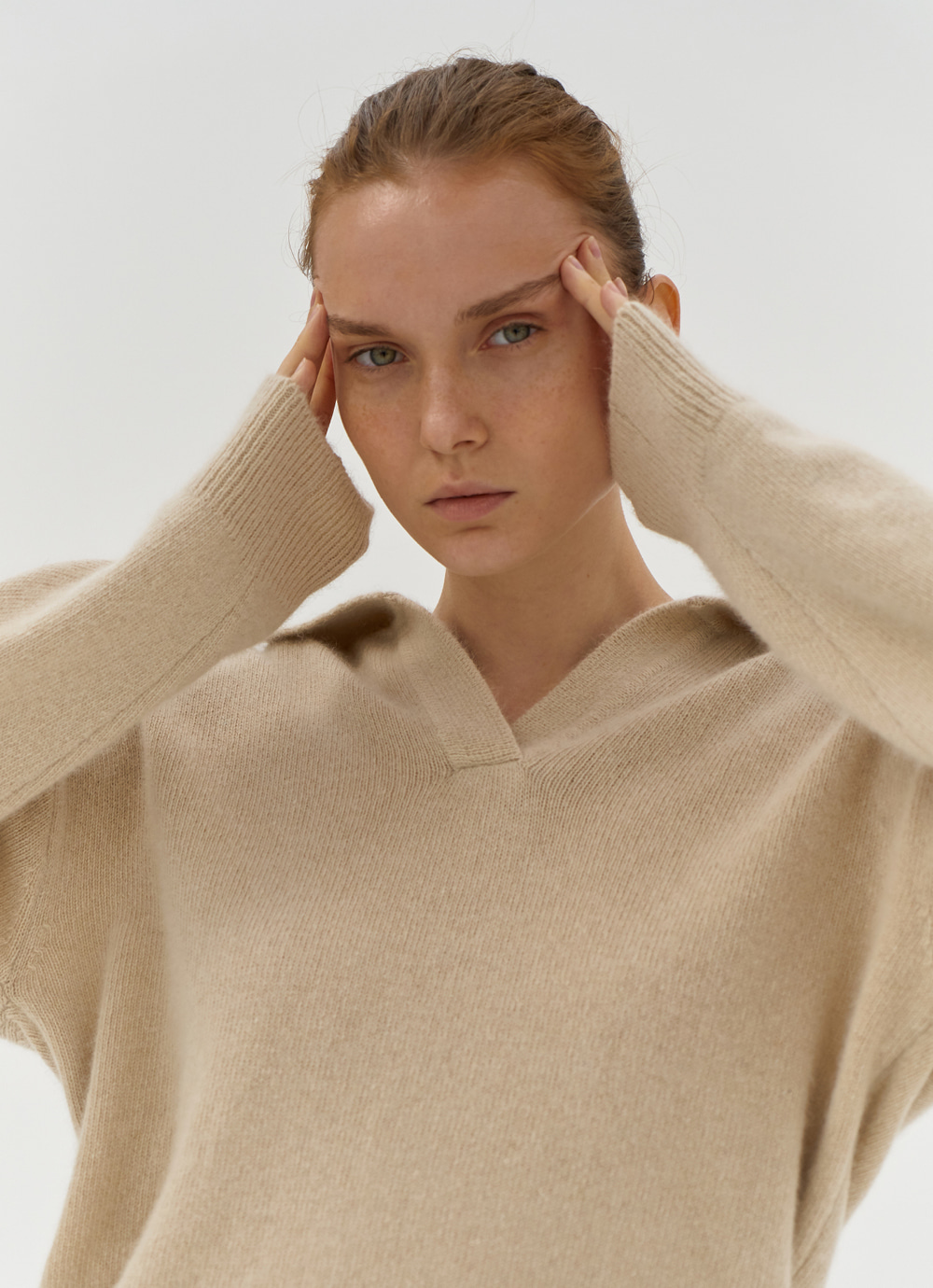 Open Collar Knit [Ivory]