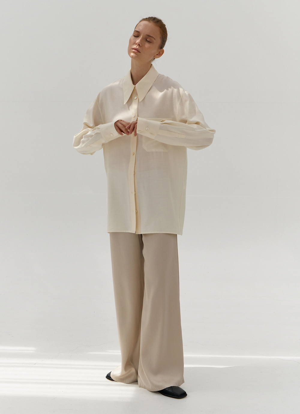 Satin Wide Pants [Ivory]