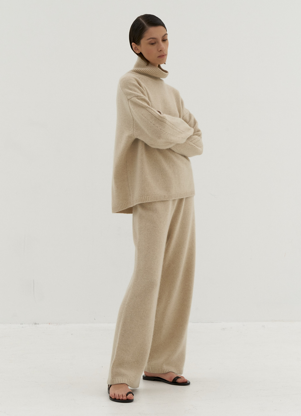 Plain Knit Pants [Ivory]